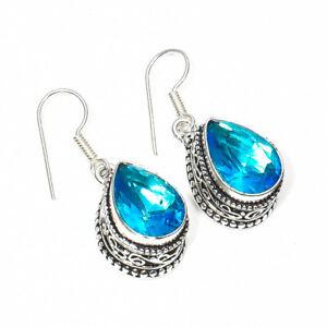 """Swiss Blue Topaz Gemstone 925 Silver Jewelry Earring 1.50"""""""