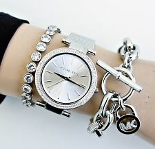 Original Michael Kors Uhr Damenuhr MK3367 Darci Mesh Frabe:Silber Kristall NEU