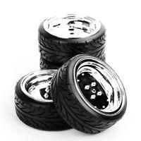 4pcs Tread Tyre and Dish Wheel rims Plastic 12mm hex For 1:10 HPI Drift RC Car
