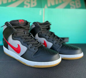 2013 NIKE DUNK HIGH PRO SB SHOES MENS US 13 BLACK RED GREY NEW IN BOX 305050 068