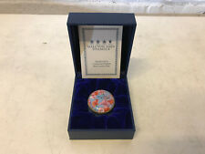 Halcyon Days Enamel Box Blue w/ Multi Color Flowers Collector's Society 2003