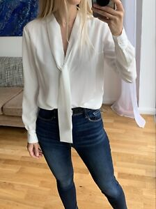 KARL LAGERFELD Off White Pussy Bow Blouse Shirt Top IT42