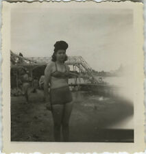 PHOTO ANCIENNE - VINTAGE SNAPSHOT - FEMME SEXY PIN UP MAILLOT COIFFURE - HAIR 2