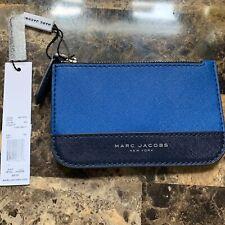 NWT Marc Jacobs Saffiano Bicolor Blue Leather Key Pouch Indigo Multi MSRP $90.00