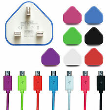 UK Wall Mains Charger & Micro USB Data Charging Sync Cables For Mobile Devices