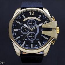 DIESEL Chronograph Herrenuhr DZ4344 Mega Chief Leder Farbe: Schwarz / Gelbgold