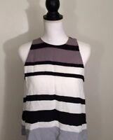 ANN TAYLOR Womens Sleeveless Tank Top Blouse Shirt Gray /Black Size S
