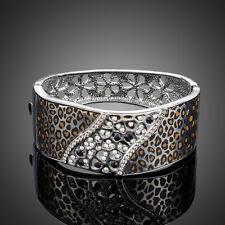 Crystal Elements White Leopard Bangle Clearance 18K Gold Gp Made With Swarovski