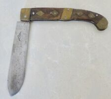 ANTIQUE SCANDINAVIAN FOLDING KNIFE EARLY 1800'S WOOD & BRASS
