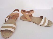 NIB Coach Reena Bleeker Cabana Stripe Sandal Size 8 B Textile Khaki White $118