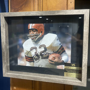Jim Brown NFL Football Browns Auto Framed Photo With COA