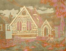 Toni Patten original lino block engraving; Schoolhouse 1960's