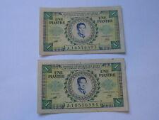 2pcs x 1 Piastre Bao Dai French Indochina Note (See Photos) #35