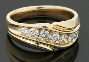 Heavy 14K gold amazing 1.10CTW diamond men's band ring size 10.5