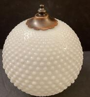 Vintage Hobnail White Milk Glass Lamp Shade Globe Dome & Ceiling Light Fixture