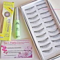 10 Pairs Handmde Black Curly Soft Natural False Eyelashes Eye Lashes With Glue
