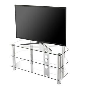 """TV Stand Glass with Cable Management and Storage, up to 55"""" Screen"""