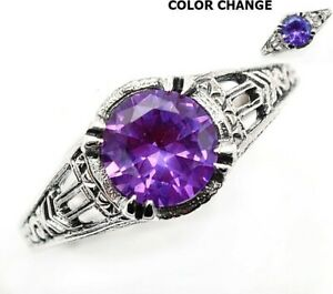 2CT Alexandrite 925 Sterling Silver Edwardian Style Ring Jewelry Sz 7, UF11
