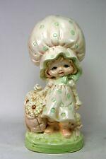 Ceramic Figurine Girl Child Bonnet Pastel