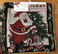 "SET OF 2 CHRISTMAS TAPESTRY THROW PILLOW COVERS SANTA CLAUSE NEW NWT 18"" X 18"""