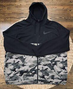 Nike Dri-FIT Men's Full-Zip Camo Training Hoodie CU6048 010 Size 4XLT Black Camo