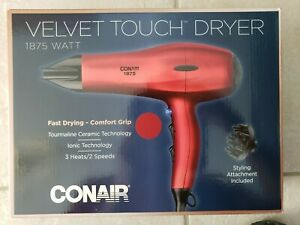 Conair 1875 Watt Velvet Touch Hair Dryer (Red, Brand New in Box)