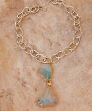 SEAFOAM AQUA GREEN AGATE GOLD EDGED DOUBLE PENDANT NECKLACE FANCY GOLD CHAIN