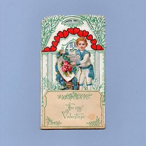 Vintage Valentine Card VALENTINE'S DAY Dimensional Boy w/Heart Germany