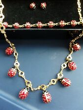 Joan Rivers Classic Red Ladybug Necklace, Bracelet, And Pierced Earrings Lot