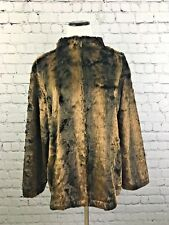 Chicos Womens Jacket Faux Mink Relaxed Brown Fully Lined Size 3    A1414