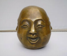 La Chine laiton bouddhisme 4 Visage xinuaile Happy Laughing Maitreya Bouddha Tête statue