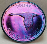 🍁 Canada Goose 1967 $1 Commemorative Canadian Centennial 80% Silver Dollar Red