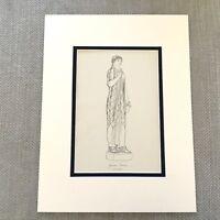 Antico Stampa Storico Costume Antico Greco High Priestess Statua