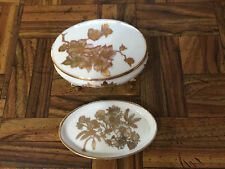 Antique Hand Painted Floral Gold Gilt Pair Trinket Dresser Box & Dish Limoges