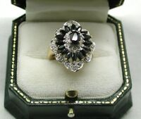 Stunning 9t Gold Large Sapphire And Diamond Cluster Ring Small Size I.1/2