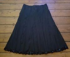 CHIANTI STUNNING BLACK CRINKLE SKIRT LACE & SEQUIN HEM SIZE 14 EXCELLENT COND.