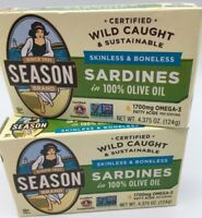 SEASON BRAND SARDINES  2 Cans IN 100% OLIVE OIL Exp 12/31/2023 FREE SHIPPING