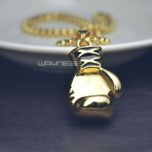 Men's 18K Gold GF Stainless steel boxing glove Pendant chain necklace N216A