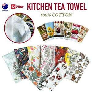 6pcs Tea Towel Kitchen Dish Towels 100% Cotton Absorbent Cleaning Linen Cloths