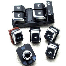 Chrome Master Window Mirror Trunk Switch Button 6Set For Audi A4 S4 B8 Q5 A5