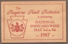 """Vintage Postcard Unused """"National Postcard Week"""", Sunbury Pennsylvania"""