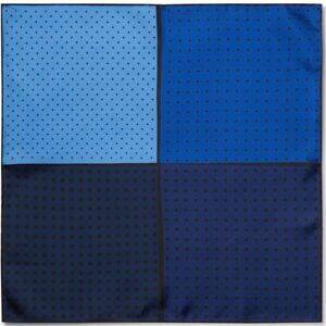LANVIN Polka-Dot 4 Multi Blue Colour-Block Silk-Twill Pocket Square BNWT GIFT