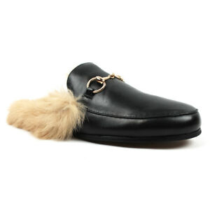 Mens Backless Slip On Real Leather faux Fur Gold Buckle Loafers Shoes ÃZARMAN