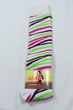 White Crazy Colorful Zebra Stripe Knee High socks Womens 9-11 Stretchy Hot pink