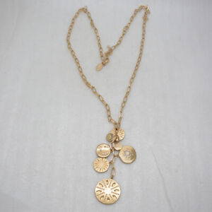 chico's signed jewelry matte gold long necklace chain cluster pendant bib circle