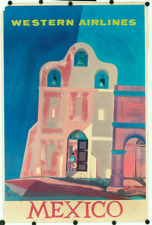 Original Vintage Travel Poster Western Airlines Mexico Spanish Mission Bells