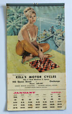 More details for vintage pin-up girls calendar, kell's motor cycles, onehunga, new zealand, 1965