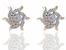 Pave 0.81 Cts Natural Diamonds Stud Earrings In Solid Certified 18K Yellow Gold