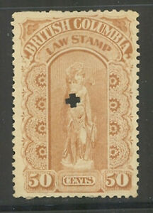 British Columbia #BCL11, 1893-1901 50c Law Stamp 3rd Series Revenue Punch Cancel