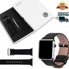 Apple Watch Band iWatch Bands 42mm Genuine Calf Leather Replacement Strap Black
